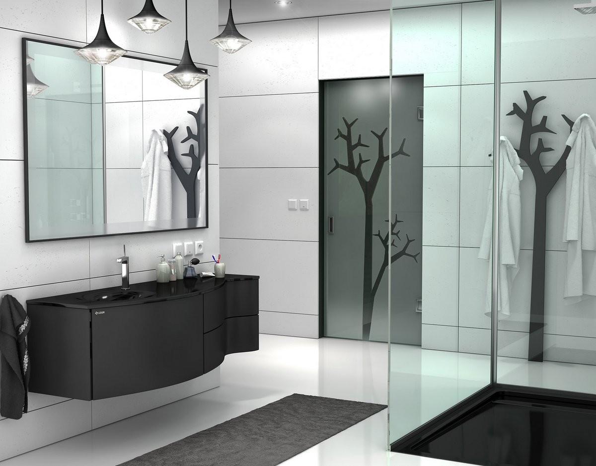 łazienka Czarno Biała Nowoczesna Aranżacja łazienki