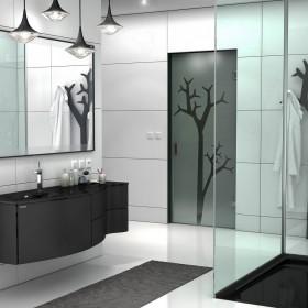 Łazienka czarno - biała. Nowoczesna aranżacja łazienki .