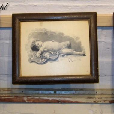 Obrazki w stylu retro przedstawiające  Aniołki - Amorki