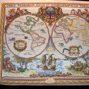 Starożytna Mapa Świata-zakończony haft.