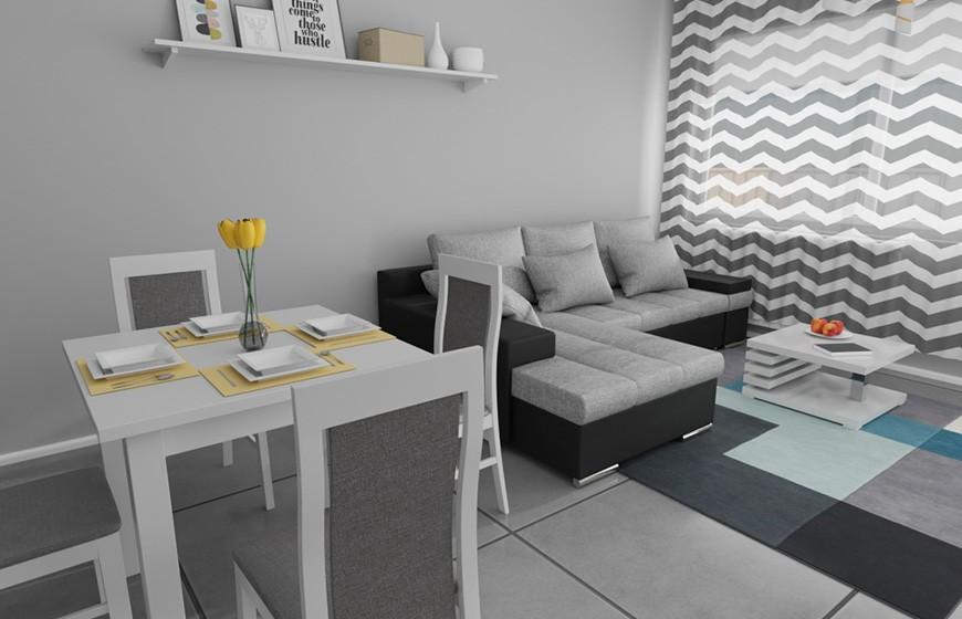 Salon, Salon w bloku - Jak więc urządzić mały salon w bloku, który nie jest ustawny, a na dodatek ma pełnić rolę sypialni, jadalni i pokoju dziennego? Zobaczcie naszą propozycję!