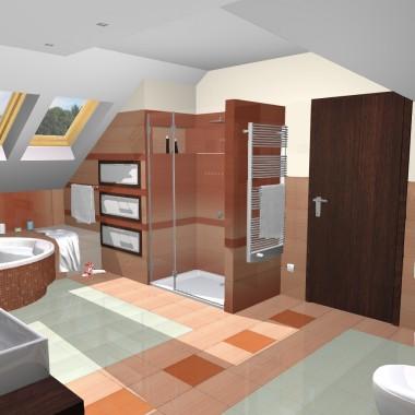 Dom z pomarańczową łazienką - projekt
