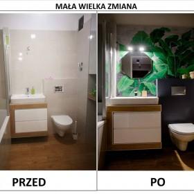Metamorfoza łazienki - ręcznie malowane liście bananowca