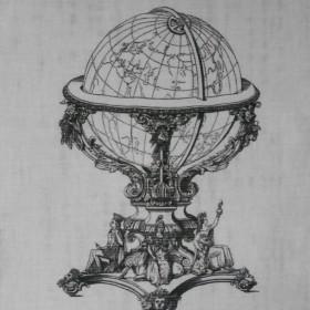 """grafika na bawełnie """"globusy"""