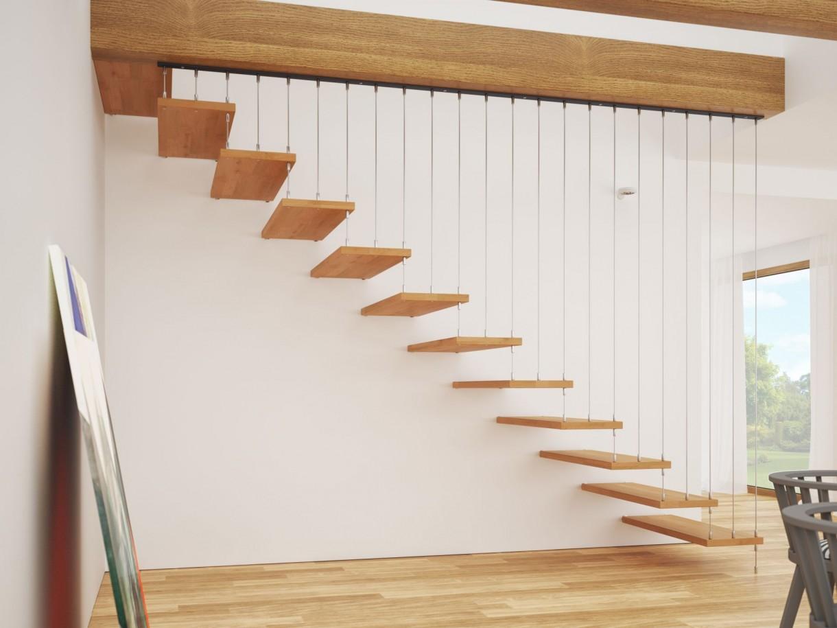 Pozostałe, Ultranowoczesne schody zawieszone w powietrzu - Rintal Polska Schody samonośne zabiegowe Fly Drewno mocowane do ściany oraz do poręczy. Stopnie o grubości 400 mm wykonane z mozaiki bukowej w kolorze natura. Poręcz Asta z metalowych prętów fi6 mocowanych do stopni i stropu za pomocą dedykowanych łączników. Cena: od 14,6 zł brutto (w ramach promocji kwietniowej)