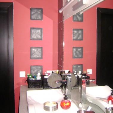 Bordowo-stalowa łazienka