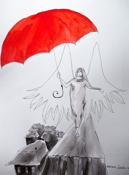 """Sprzedam, """"ANIOŁY"""" akwarele artystki plastyka Adriany Laube - """"Spacer z parasolem"""""""