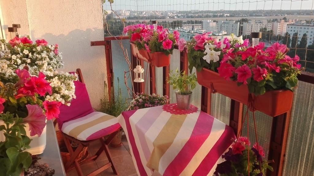 Balkon, Balkon o różnych porach dnia &#x3B;) - róż malinowy rozświetlony pomarańczowym blaskiem zachodzącego słońca &#x3B;)
