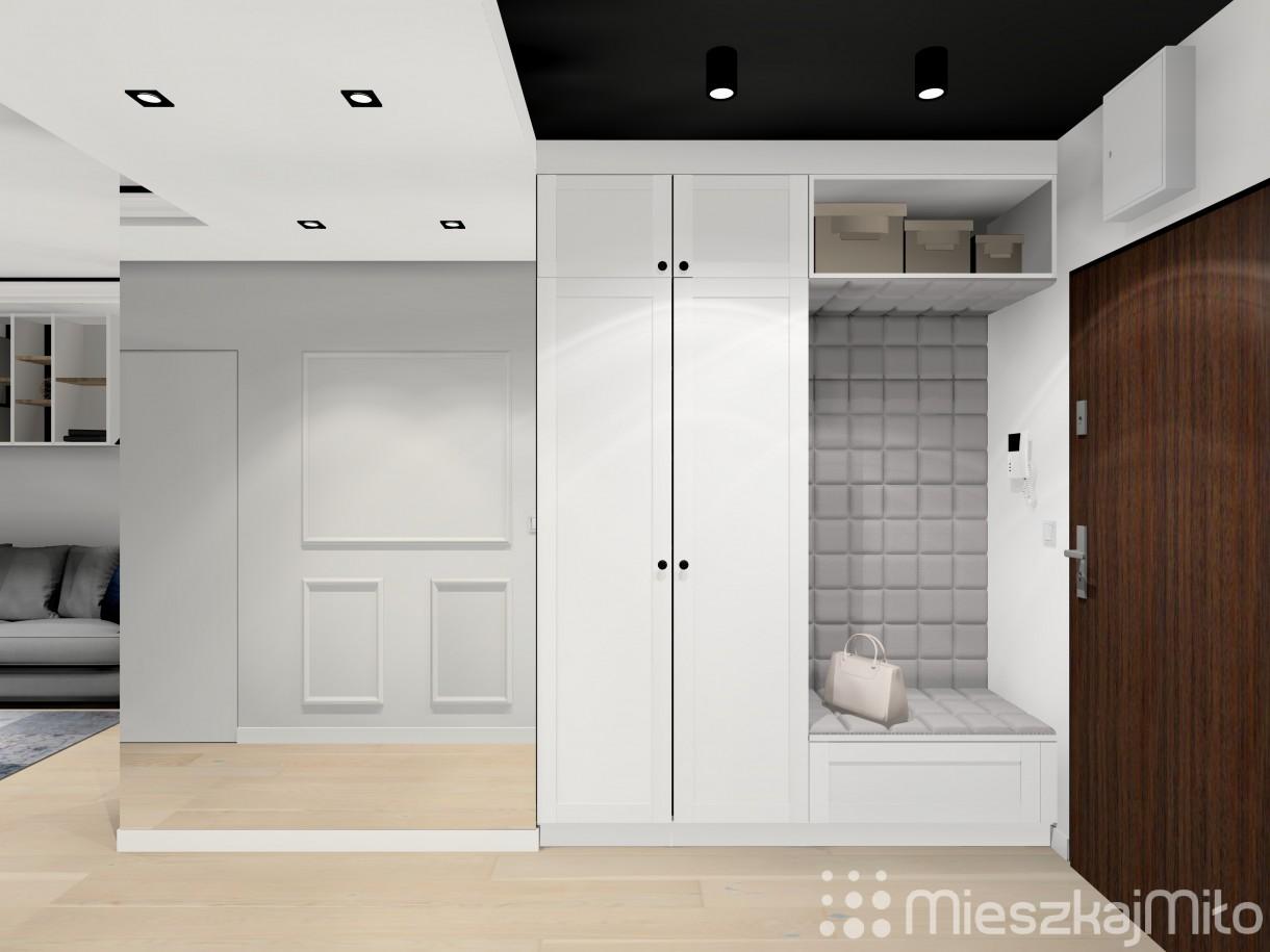 Salon, Projekt wnętrza przedpokoju, kuchni i salonu - Przedpokój