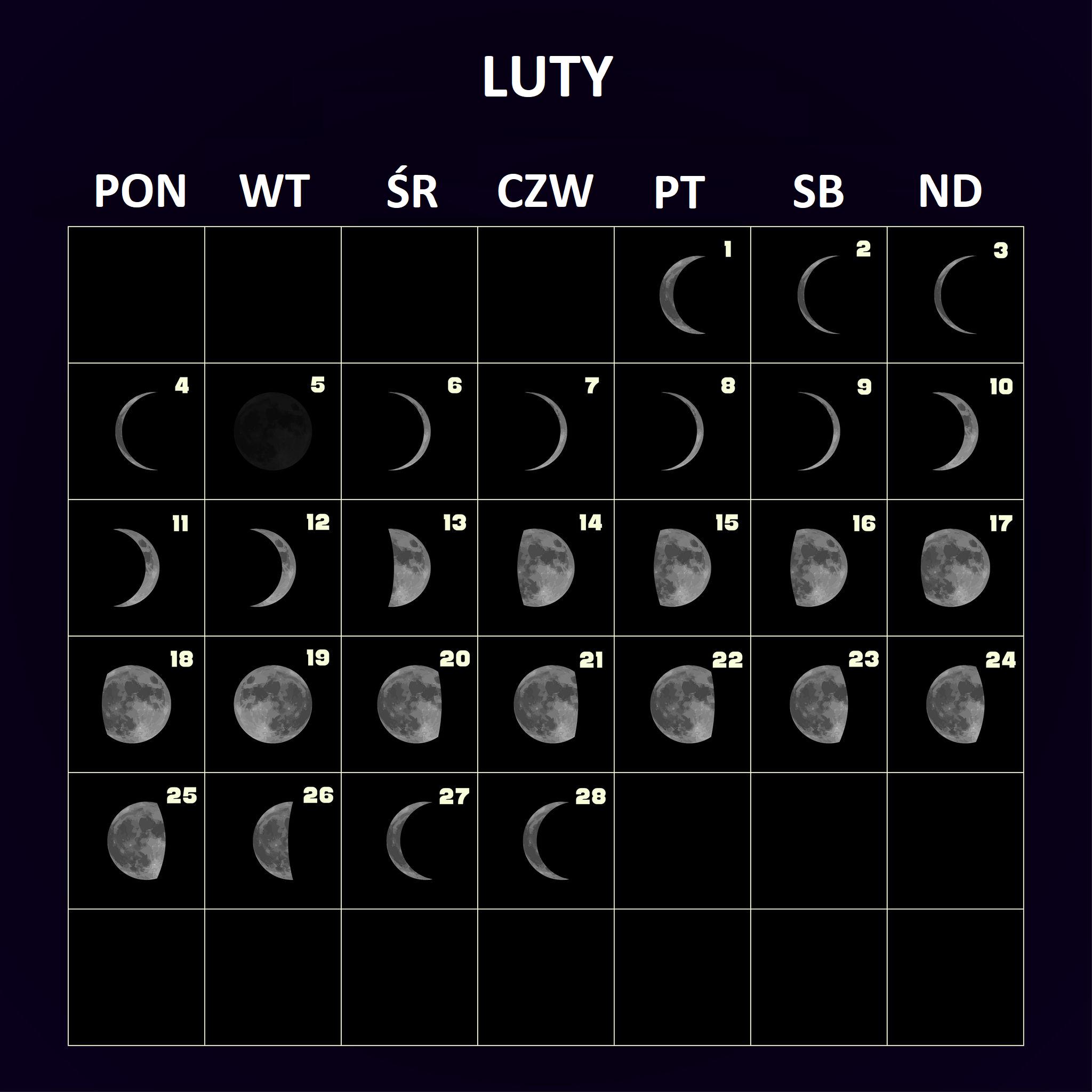 Kalendarz na luty - fazy Księżyca.