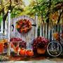 """Dekoracje, akwarele - Akwarela 46x34   """" Jesienny ogród z rowerem"""""""