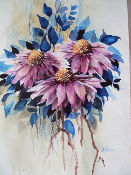 "Dekoracje, akwarele - Akwarela 24x34    ""Różowe kwiaty"""