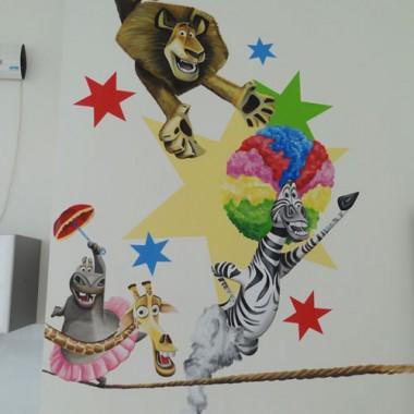 artystyczne malowanie ścian, malowidła ścienne, malunki na ścianie, pokój dziecięcy, pokój dla dziecka, pokój dla dziewczynki, pokój dla chłopca, pokój dla dziewczynki, dekoracja ścian, Madagarskar