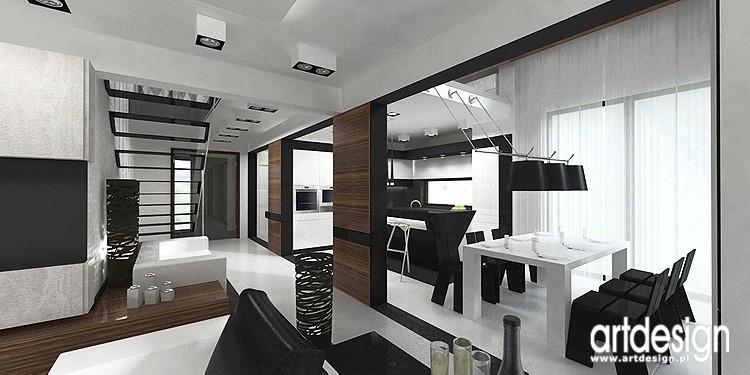 Pozostałe, projekt wnętrza domu - wnętrze kuchni i jadalni - projekt wnętrz