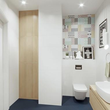Projekt wnętrza łazienki w nowoczesnym stylu. Autor - Katarzyna Rudak - www.katarzynarudak.pl