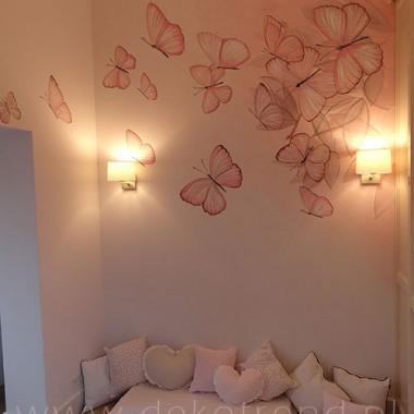 artystyczne malowanie ścian, malowidła ścienne, malunki na ścianie, pokój dziecięcy, pokój dla dziecka, pokój dla dziewczynki, pokój dla dziewczynki, dekoracja ścian, Motylki