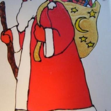 Witraże Świąteczne Ręcznie malowane-Mikołaje