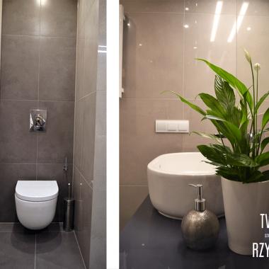 Dobrze zaprojektowane wnętrze może służyć także swoją pomocą. W przypadku mieszkanki, która mimo swojej ogromnej dawki energii i aktywności fizycznej jest już osobą starszą, należało pomyśleć także o wygodzie i bliskości wszystkich sprzętów łazienkowych.