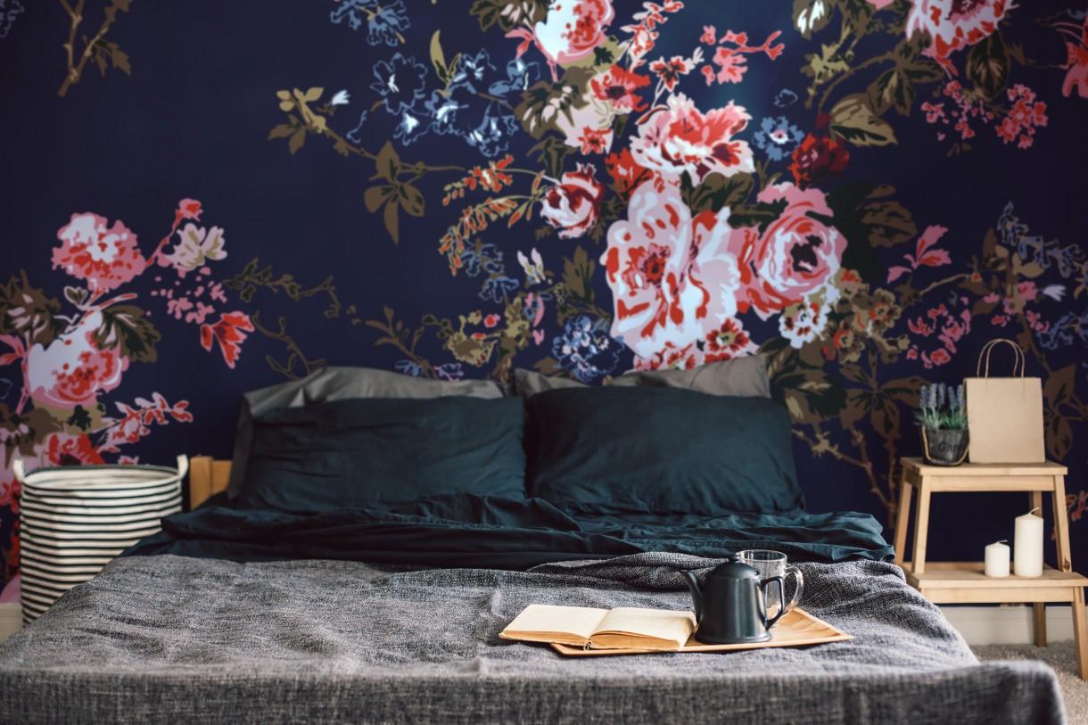 Dekoracje, Kwiaty na ścianie - romantyczne kwiaty w ciemnych kolorach - inspiracja dla odważnych!