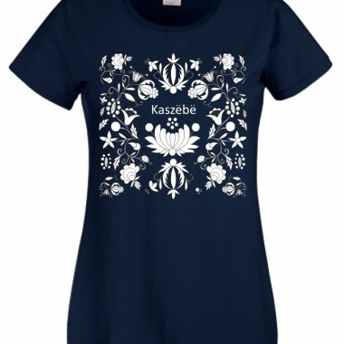 Koszulka z kaszubskimi kwiatami (M) granatowa