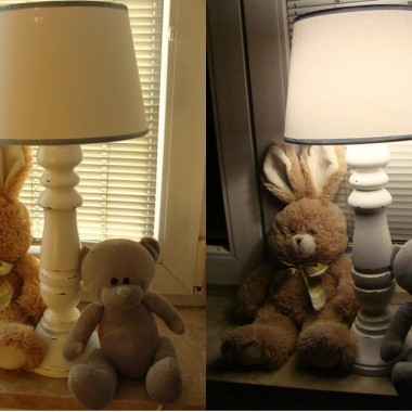 i u niego lampka&#x3B;) a bliżniacza jest w łazience(za grosze stare dziadki do malowania upolowałam na allegro)