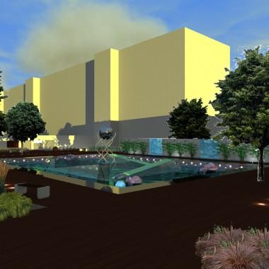 Charakter Technologicznego Ogrodu Dydaktycznego podkreślony jest otwartym placem z fontanną otoczoną wyspami trawiastymi i ścianą wodną z bambusami.