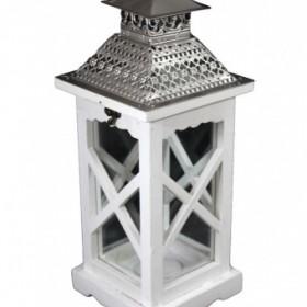 Drewniany lampion do ogrodu lub do domu