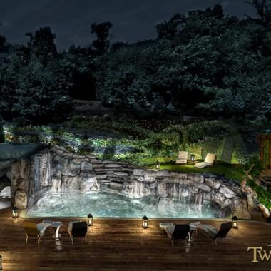 Projekt tarasu połączonego z basenem i grotą skalną w której znajduje się jacuzzi
