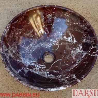 marmurowa umywalka wiśniowa, kamienna umywalka z marmuru Rojo Levanto