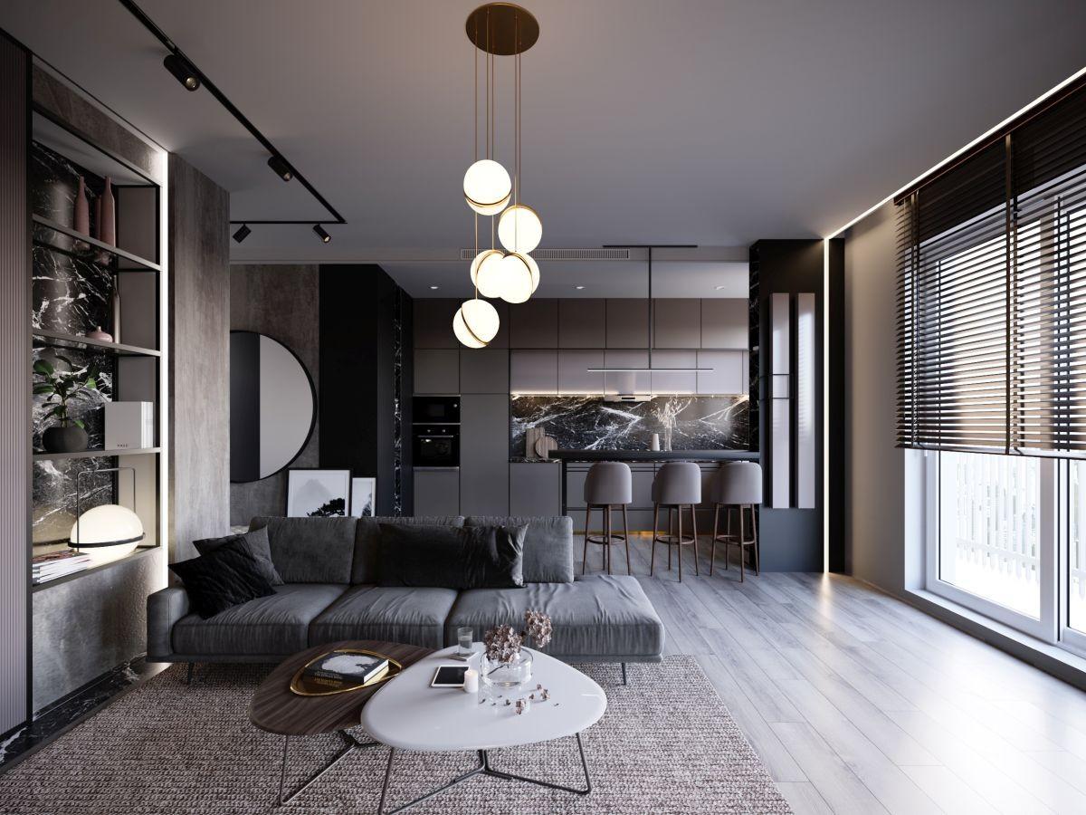 Domy i mieszkania, Monochromatyczne mieszkanie w skali szarości