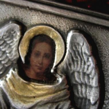 Srebrna IKONA Aniołek święty prezent na chrzest lub urodziny