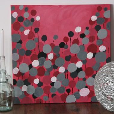 Malowany obraz i papierowe kwiatki