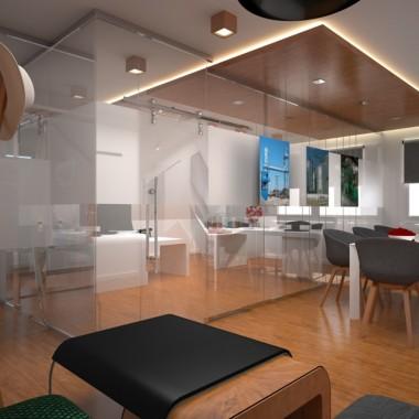 Biuro z drewnem i szkłem w tle