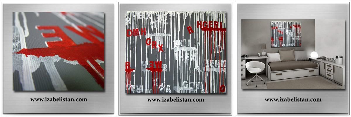 """Dekoratorzy, izabelistan - """"ŚCIEKAJĄCE LITERKI"""" 60 x 50 cm, akryl na płótnie"""