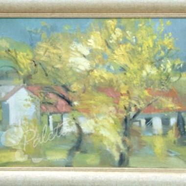 """""""Podkrakowski pejzaż jesienny"""", olej na płótnie, 82,5 x 68 cm, 2004, oprawiony w elegancką ramę hiszpańską, na sprzedaż"""