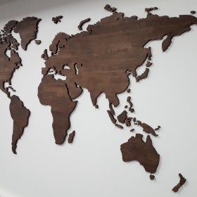 Drewniana mapa świata buk 270 x 145 cm