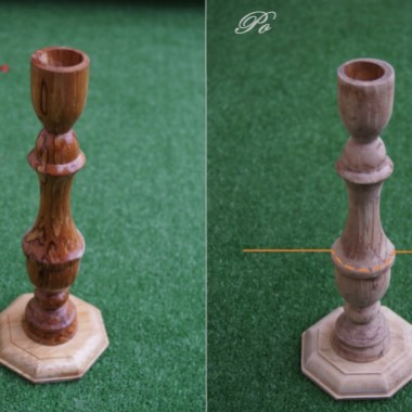 Krok 4.Z drewnianego świecznika należy usunąć warstwę lakieru a następnie skrócić na wysokości ok. 10 cm od podstawy. To będzie nasza noga.