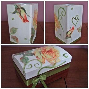 Chustecznik, świeczka, świecznik i szkatułka wykonana techniką decoupage z motywem róż idealne dodatki do sypialni