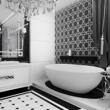 Czarno-biała łazienka glamour