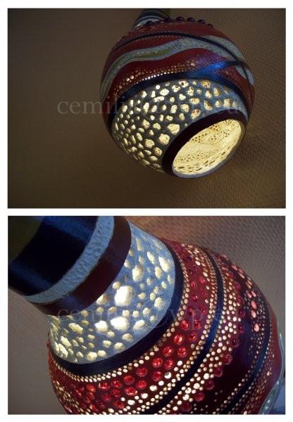 Oświetlenie, Lampa wisząca z tykwy soplowej - Tykwa - Rękodzieło