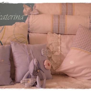 poduszki ,wałki na niebiesko:))