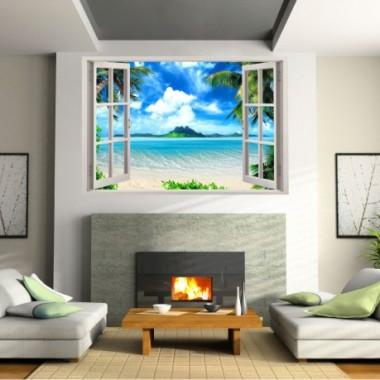Naklejka 3d - naklejka kolorowa  na ścianę imitująca okno / NaklejkiOzdobne