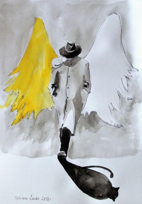 """Sprzedam, """"ANIOŁY"""" akwarele artystki plastyka Adriany Laube - """"Anioł w kapeluszu"""""""