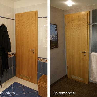 Dekoracyjny grzejnik z elektryczną grzałką - suszy ręczniki cały rok. W ideale drzwi należałoby polakierować pod kolor ścian. Ale dębowy fornir sam w sobie prezentuje się pięknie, więc służy za ozdobę jak obrazek z puzzli ułożony przez właścicielkę.