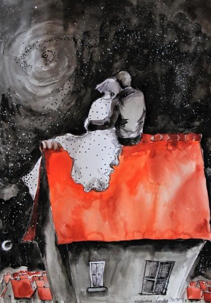 """Sprzedam, Akwarele artystki plastyka Adriany Laube - """"Na dachu"""""""