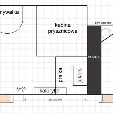 Plan łazienki i ubikacji przed remontem.