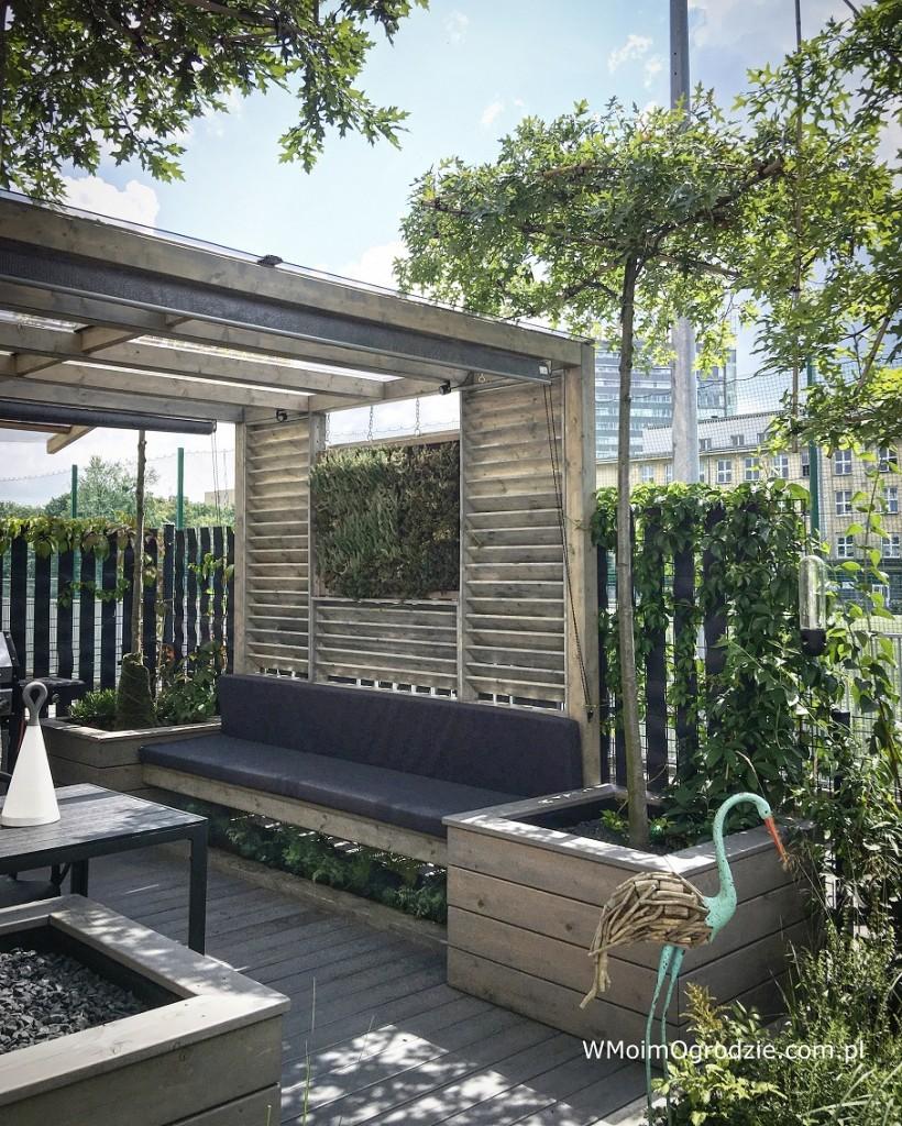 Taras, Mały, miejski ogród na dachu garażu - Nowoczesna altana. Projekt Anna Skorupska, Wykonanie W Moim Ogrodzie