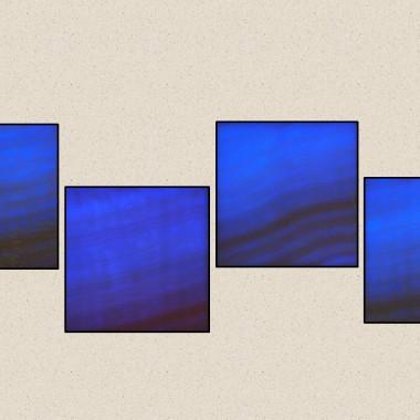 Aranżacja z 4 szt. Kinkietów o powierzchni z naturalnego transparentnego onyksu podświetlana diodami LED sterowana PILOTEM z 20 programami kolorystycznymi ,19 kolorów ,5 stpni regilacji jasności i prędkości