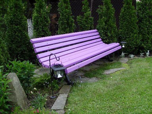 Ogród, Majowo-czerwcowy ogród Ewy - Ławeczka w tym roku zmieniła kolor.