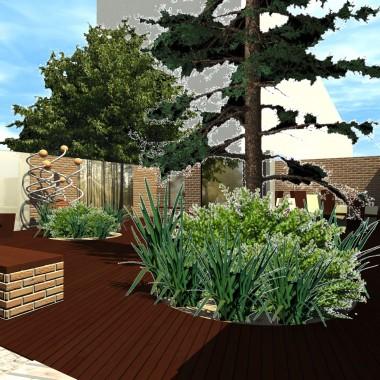 Ogród drewniany. Odpowiednio kreowana przestrzeń wnętrz za pomocą barwnych akcentów, tonowych odcieni jednego koloru, może pozytywnie wpływać na samopoczucie odwiedzających.